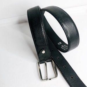 VERA PELLE | Black Pebbled Leather Belt Silver M